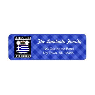 California Greek American Address Labels