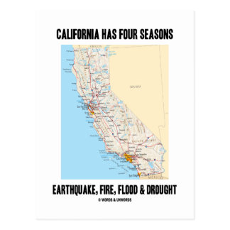 California Has Four Seasons Earthquake Fire Flood Postcard
