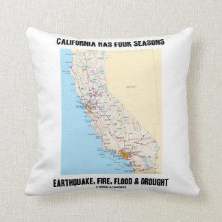 California Has Four Seasons Earthquake Fire Flood Throw Pillow