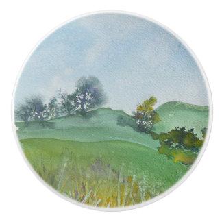 California Hillside Watercolor Drawer Pulls