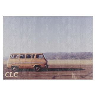 California Hippie Van Glass Cutting Board