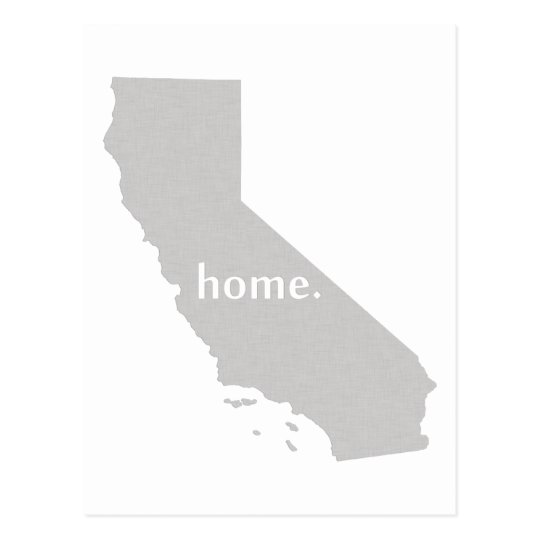California home silhouette state map postcard