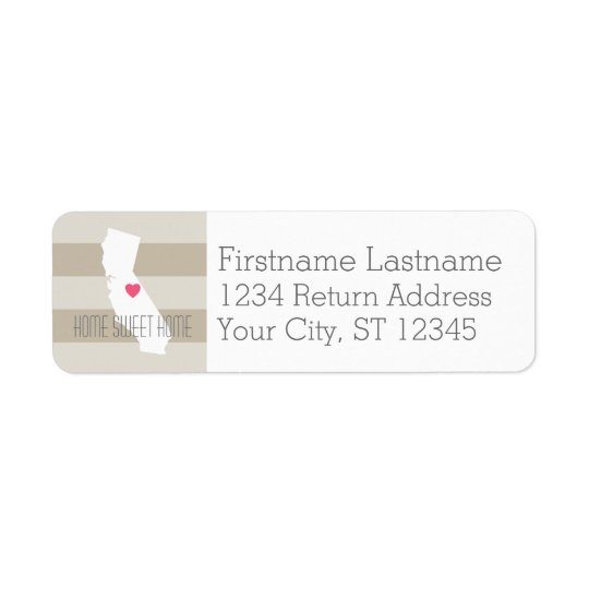 California Home State Love with Custom Heart Return Address Label
