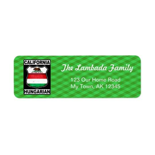 California Hungarian American Address Labels
