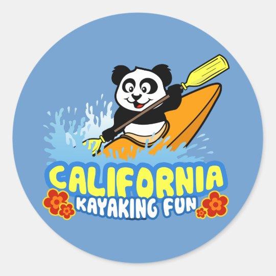 California Kayaking Fun Panda Classic Round Sticker