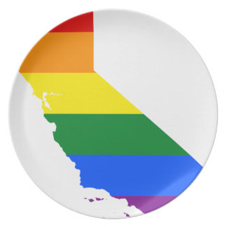 California LGBT Flag Map Plate