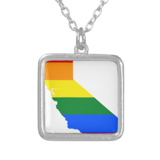 California LGBT Flag Map Silver Plated Necklace