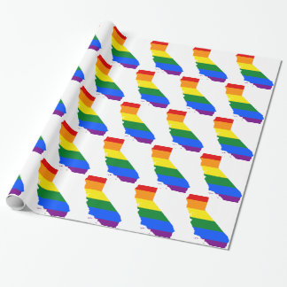 California LGBT Flag Map Wrapping Paper