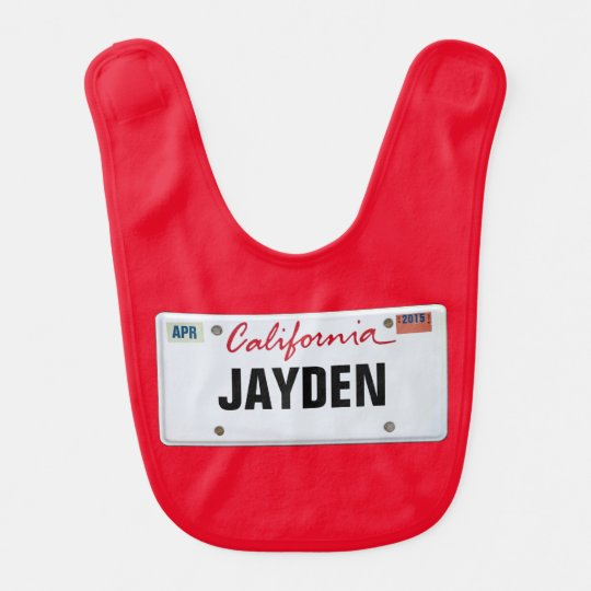 California License Plate with Baby's Name Bib