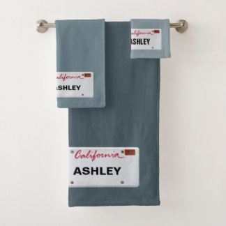 California License Plate with your Name Bath Towel Set