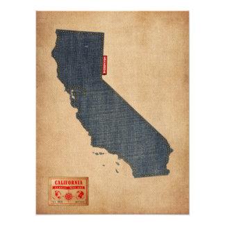 California Map Denim Jeans Style Photo Print