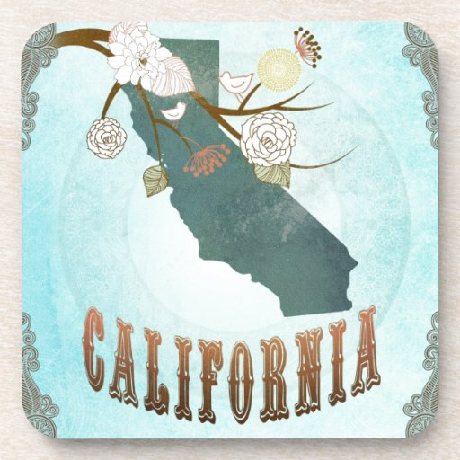 California Map With Lovely Birds Coasters