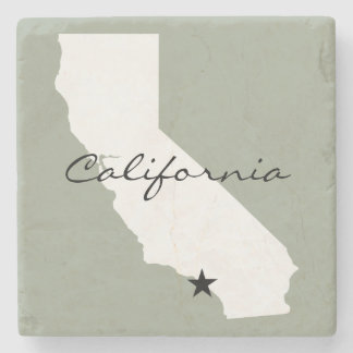 California Minimalist Map Silhouette Stone Beverage Coaster