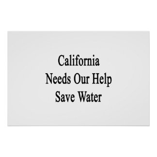 California Needs Our Help Save Water Poster