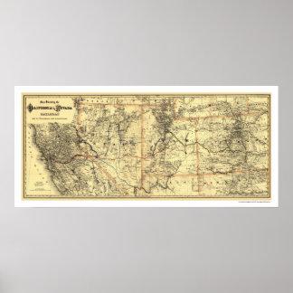 California & Nevada Rail Map 1882 Poster