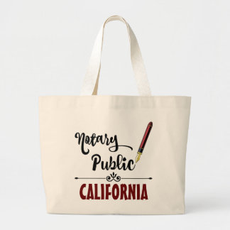 California Notary Public Ink Pen Large Tote Bag