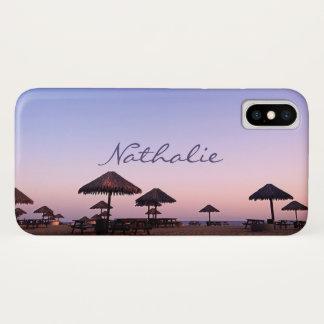California palapa beach sunset photo custom name iPhone x case