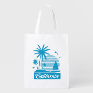 California Palm Trees & Sailboat Reusable Grocery Bag