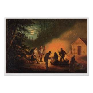 California Pioneers Around a Campfire (0131A) Poster