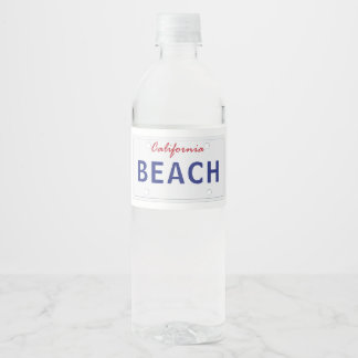 California Plates Water Bottle Label