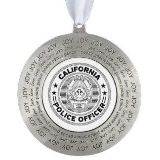 California Police Officer Pewter Ornament