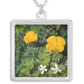 California Poppies and Blackberry Flowers Silver Plated Necklace