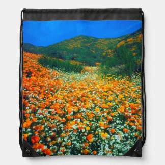 California Poppies and Popcorn wildflowers Drawstring Bags