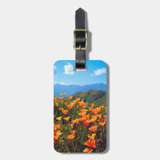 California poppies covering a hillside luggage tag