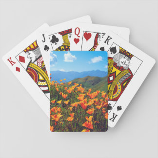 California poppies covering a hillside playing cards