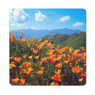 California poppies covering a hillside puzzle coaster