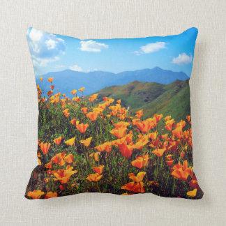 California poppies covering a hillside throw pillow