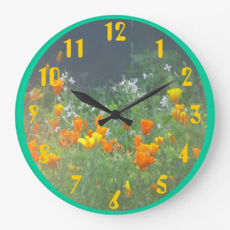 California Poppies Large Clock