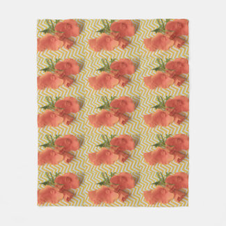California poppies on a chevron background fleece blanket