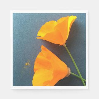 California poppies on blue disposable napkin