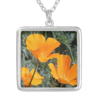 California Poppies Silver Plated Necklace