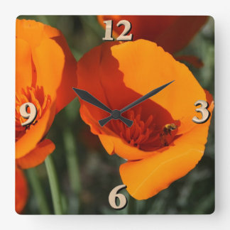 California Poppies Square Wall Clock