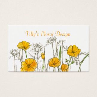 California Poppy Flower Business Card Wildflower