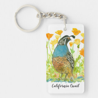 California Poppy Flower Quail State Bird Keychain