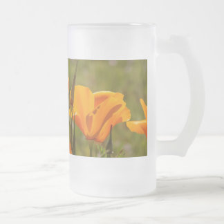 California Poppy Flowers Floral Wildflowers Frosted Glass Beer Mug