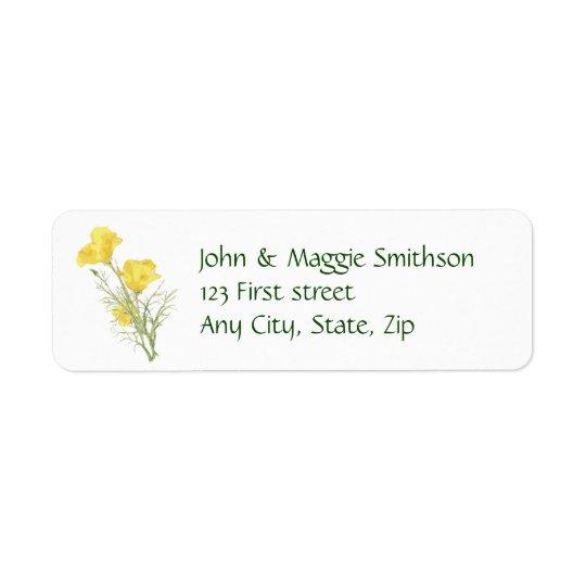California Poppy Garden Flower Custom Label Return Address Label