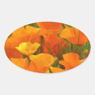 california poppy impasto oval sticker