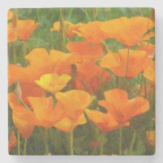 california poppy impasto stone coaster