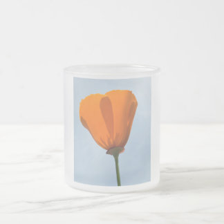 California Poppy Silhouette Frosted Glass Coffee Mug