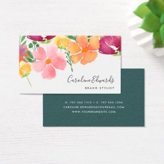 California Poppy | Watercolor Floral Business Card