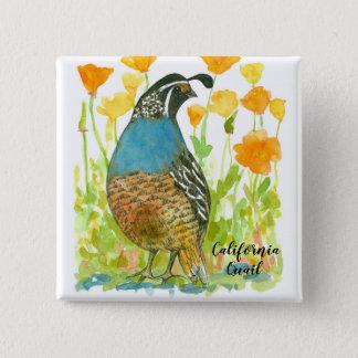California Quail Bird Watercolor Illustration 2 Inch Square Button