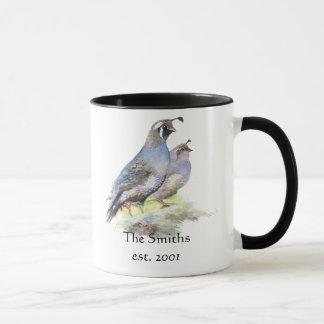 California Quail Birds Custom Date Monogram Family Mug