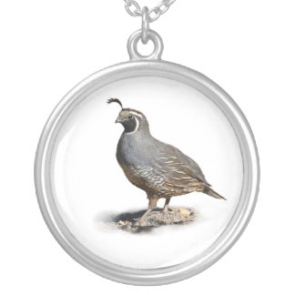 CALIFORNIA QUAIL SILVER PLATED NECKLACE