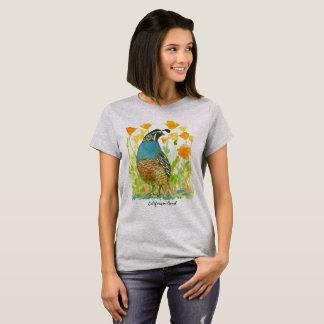 California Quail State Bird Orange Poppies T-Shirt