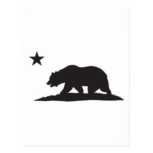 California Republic Bear - Black Postcard