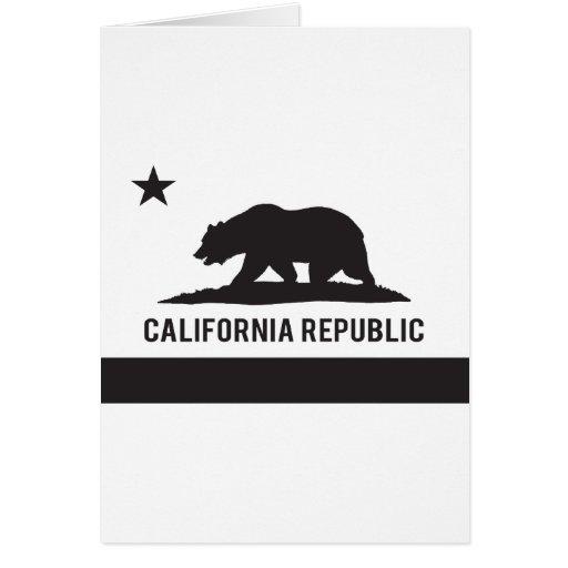 California Republic Flag - Black Greeting Card